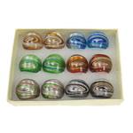 Ring Finger lampwork, rërë ari dhe argjendi me letër varaku, ngjyra të përziera, 29x28x23mm, : 18mm, :8, 12PC/Kuti,  Kuti