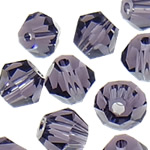 Swarovski Crystal Beads, Bicone, Violet errët, 4mm, : 1mm, 50PC/Qese,  Qese