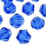 Swarovski Crystal Beads, Bicone, Safir, 4mm, : 1mm, 50PC/Qese,  Qese