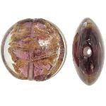 Goldsand Lampwork Perlen, flache Runde, 19.5-20x19x9-9.5mm, Bohrung:ca. 1.5mm, 100PCs/Tasche, verkauft von Tasche