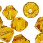 Swarovski Crystal Beads, Bicone, Lt Colorado topaz, 3mm, : 1mm, 50PC/Qese,  Qese