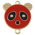 Iron Mbulim Gjuhësh, Hekur, Panda, smalt & 1/1 loop, i kuq, , nikel çojë \x26amp; kadmium falas, 37x42x2mm, : 3mm, 200PC/Qese,  Qese
