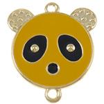 Iron Mbulim Gjuhësh, Hekur, Panda, smalt & 1/1 loop, i verdhë, , nikel çojë \x26amp; kadmium falas, 37x42x2mm, : 3mm, 200PC/Qese,  Qese