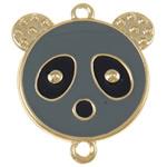 Iron Mbulim Gjuhësh, Hekur, Panda, gri, , nikel çojë \x26amp; kadmium falas, 37x42x2mm, : 3mm, 200PC/Qese,  Qese
