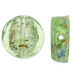 Goldsand Lampwork Perlen, flache Runde, 16x16x6mm, Bohrung:ca. 1.5mm, 100PCs/Tasche, verkauft von Tasche