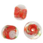 Goldsand Lampwork Perlen, Rondell, 11x9mm, Bohrung:ca. 1.5mm, 100PCs/Tasche, verkauft von Tasche