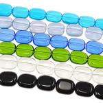 Ovale Kristallperlen, Kristall, gemischte Farben, 10x12x5mm, Bohrung:ca. 1mm, Länge:14 ZollInch, 20SträngeStrang/Tasche, verkauft von Tasche