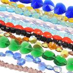 Beads Crystal, Kristal, Nuggets, i tejdukshëm, ngjyra të përziera, 7-22mm, : 1-1.5mm, :15Inç, 20Fillesat/Qese,  Qese