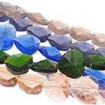 Beads Crystal Heart, Kristal, Zemër, i tejdukshëm, ngjyra të përziera, 21.50x20.50x12mm, : 1.5mm, :15.7Inç, 20Fillesat/Qese,  Qese
