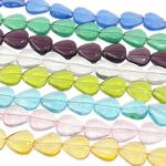 Herz Kristallperlen, Kristall, transluzent, gemischte Farben, 12x10.50x5mm, Bohrung:ca. 1mm, Länge:14 ZollInch, 20SträngeStrang/Tasche, verkauft von Tasche