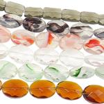 Beads Ovale Crystal, Kristal, i tejdukshëm, ngjyra të përziera, 14.5-17.5mm, : 1mm, :14Inç, 20Fillesat/Qese,  Qese