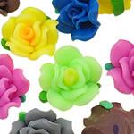 Beads polimer balta, Polymer Clay, Lule, asnjë, ngjyra të përziera, 20x12-21x13mm, : 1-2mm, 100PC/Qese,  Qese