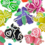 Beads polimer balta, Polymer Clay, Lule, asnjë, ngjyra të përziera, 21-25x17mm, : 1-2mm, 100PC/Qese,  Qese