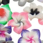 Beads polimer balta, Polymer Clay, Lule, asnjë, ngjyra të përziera, 18x8-21x12mm, : 1-2mm, 100PC/Qese,  Qese
