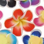 Beads polimer balta, Polymer Clay, Lule, asnjë, ngjyra të përziera, 18x9-22x8mm, : 1-2mm, 100PC/Qese,  Qese