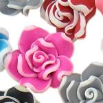 Beads polimer balta, Polymer Clay, Lule, asnjë, ngjyra të përziera, 15x9-18x11mm, : 1-2mm, 100PC/Qese,  Qese