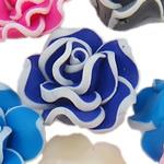 Beads polimer balta, Polymer Clay, Lule, asnjë, ngjyra të përziera, 20x11-22x12mm, : 1-2mm, 100PC/Qese,  Qese