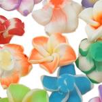 Polymer Ton Perlen , Blume, gemischte Farben, 15x8-18x10mm, Bohrung:ca. 1-2mm, 100PCs/Tasche, verkauft von Tasche