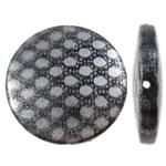 Beads Printime akrilik, Monedhë, shtypje, spot argjendi, e zezë, 21x5mm, : 1.5mm, 50PC/Qese,  Qese