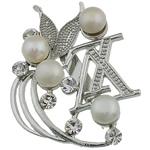 Pearl ujërave të ëmbla karficë, Pearl kulturuar ujërave të ëmbla, with Tunxh, Shape Tjera, e bardhë, 43x56.50x15mm,  PC