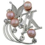 Pearl ujërave të ëmbla karficë, Pearl kulturuar ujërave të ëmbla, with Tunxh, Shape Tjera, rozë, 43x56.50x15mm,  PC
