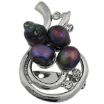 Pearl ujërave të ëmbla karficë, Pearl kulturuar ujërave të ëmbla, with Tunxh, Mollë, e zezë, 32x51x15mm,  PC