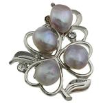 Pearl ujërave të ëmbla karficë, Pearl kulturuar ujërave të ëmbla, with Tunxh, Lule, rozë, 37x43.50x17mm,  PC