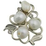 Pearl ujërave të ëmbla karficë, Pearl kulturuar ujërave të ëmbla, with Tunxh, Lule, e bardhë, 37x43.50x17mm,  PC