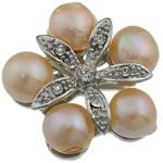 Pearl ujërave të ëmbla karficë, Pearl kulturuar ujërave të ëmbla, with Tunxh, Lule, rozë, 31.50x33x14.50mm,  PC