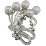 Pearl ujërave të ëmbla karficë, Pearl kulturuar ujërave të ëmbla, with Tunxh, Lule, e bardhë, 39.50x49x17.50mm,  PC