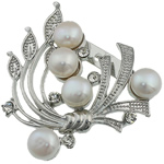 Pearl ujërave të ëmbla karficë, Pearl kulturuar ujërave të ëmbla, with Tunxh, Lule, e bardhë, 44.50x49x15mm,  PC
