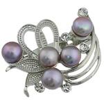 Pearl ujërave të ëmbla karficë, Pearl kulturuar ujërave të ëmbla, with Tunxh, Lule, vjollcë, 36x42x17mm,  PC