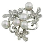 Pearl ujërave të ëmbla karficë, Pearl kulturuar ujërave të ëmbla, with Tunxh, Lule, e bardhë, 44.50x45.50x16mm,  PC