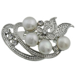Pearl ujërave të ëmbla karficë, Pearl kulturuar ujërave të ëmbla, with Tunxh, Lule, e bardhë, 29x48x16.50mm,  PC