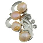 Pearl ujërave të ëmbla karficë, Pearl kulturuar ujërave të ëmbla, with Tunxh, Lule, rozë, 31.50x53x15.50mm,  PC