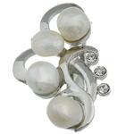 Pearl ujërave të ëmbla karficë, Pearl kulturuar ujërave të ëmbla, with Tunxh, Lule, e bardhë, 31.50x53x15.50mm,  PC