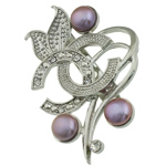 Pearl ujërave të ëmbla karficë, Pearl kulturuar ujërave të ëmbla, Lule, vjollcë, 38.50x50x15.50mm,  PC