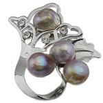 Pearl ujërave të ëmbla karficë, Pearl kulturuar ujërave të ëmbla, with Tunxh, Lule, vjollcë, 47.50x46x19mm,  PC