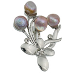 Pearl ujërave të ëmbla karficë, Pearl kulturuar ujërave të ëmbla, with Tunxh, Lule, vjollcë, 57x39.50x16mm,  PC