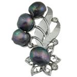 Pearl ujërave të ëmbla karficë, Pearl kulturuar ujërave të ëmbla, with Tunxh, Lule, e zezë, 50.50x33x15mm,  PC