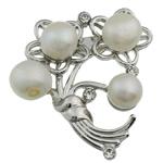 Pearl ujërave të ëmbla karficë, Pearl kulturuar ujërave të ëmbla, with Tunxh, Lule, e bardhë, 49x45x17mm,  PC