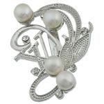 Pearl ujërave të ëmbla karficë, Pearl kulturuar ujërave të ëmbla, with Tunxh, Shape Tjera, e bardhë, 48x46x16mm,  PC