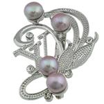 Pearl ujërave të ëmbla karficë, Pearl kulturuar ujërave të ëmbla, with Tunxh, Shape Tjera, rozë, 48x46x16mm,  PC