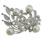 Pearl ujërave të ëmbla karficë, Pearl kulturuar ujërave të ëmbla, with Tunxh, Lule, e bardhë, 48x38x17mm,  PC