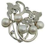 Pearl ujërave të ëmbla karficë, Pearl kulturuar ujërave të ëmbla, with Tunxh, Lule, e bardhë, 49.50x46x17mm,  PC