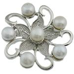 Pearl ujërave të ëmbla karficë, Pearl kulturuar ujërave të ëmbla, with Tunxh, Lule, e bardhë, 45x15mm,  PC