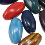 Beads xham porcelani, Oval, xham, ngjyra të përziera, 12.50x24mm, : 2.2mm, 130PC/Qese,  Qese
