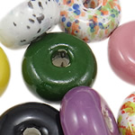 Beads xham porcelani, Rondelle, xham, ngjyra të përziera, 23-32.5mm, : 6.5-7mm, 30PC/Qese,  Qese
