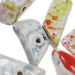 Beads xham porcelani, Trapez, xham, ngjyra të përziera, 12.50x27.50mm, : 2.5mm, 80PC/Qese,  Qese