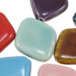Beads xham porcelani, Diamant, xham, ngjyra të përziera, 22x26.50x7mm, : 2mm, 150PC/Qese,  Qese